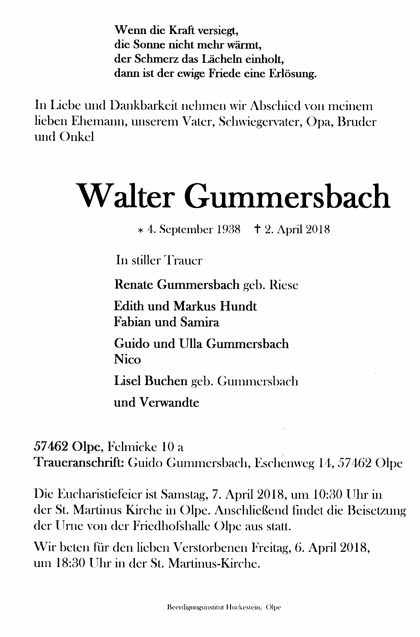 Todesanzeige Walter Gummersbach